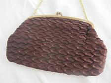 VINTAGE 1960's BROWN ROUCHED SATIN & GILT FRAMED EVENING BAG HANDBAG