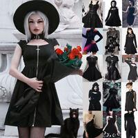Women Dark Punk Dress Vintage Rockabilly Skirt Gothic Steampunk Cosplay Costume
