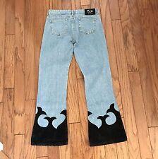 Vintage Hippie Jeans Boho Flared Women Blue Denim Velour Flame Appliqué