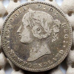 1870 Newfoundland Ten Cents Silver Coin Key Date Rare Obverse #1