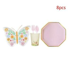 Disposable Tableware Butterfly Shape Plates Forks Spoons Cups Napkins Knives