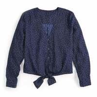 Women's Polka Dot V Neck Tie Knot Front Blouse Long Sleeve Size XL by Popsugar