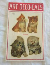 Marcel Schurman Decals kittens, cats made in Italy 1960's Art Deco * Cals in Pkg