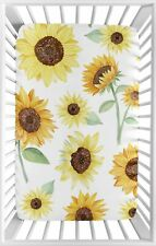 Baby Nursery Fitted Mini Portable Crib Sheet Yellow Green Sunflower Boho Floral