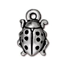 TierraCast Ladybug Drop, Antiqued Silver Plated Lead Free Pewter (T769)