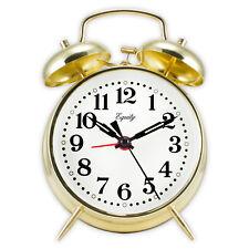 13012 Equity by La Crosse Brass Key Wind Twin Bell Quartz Analog Alarm Clock