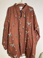 Mens 5XLT Fox Fire Long Sleeve Button Shirt Pheasant Dog NWT $38