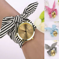 Womens Quartz Analog Watch Stripe Floral Cloth Bracelet Strap Dress Wrist Watch