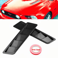 Carbon Fiber Look Style Hood Vent Louver Cooling Panel Trim Fit For Ford Mustang