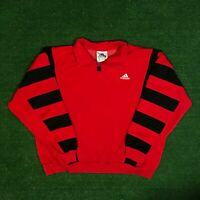 Mens Vintage 90's Classic ADIDAS Red/ Black Crewneck Pullover Sweater Size - L