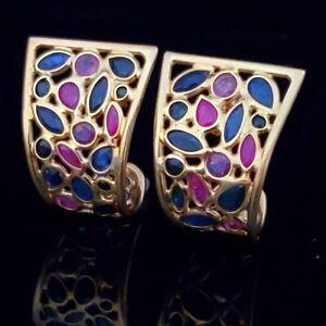 Vintage 18k Yellow Gold Ruby Sapphire Gemstone Earrings Hoops Large 1980s Gift