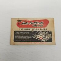 Vintage Cobbs No. 77 Magnetic Auto Certificate Holder, Car Show Collectible