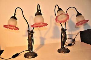 Zwei schwere figurale Bronzeleuchter Jugendstil Lampen 60 cm je 4,5 kg