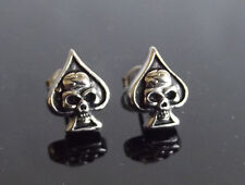 Skull & Spades Antique Silver Stud PAIR Ear Ring Earrings Biker Punk