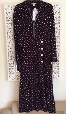 Topshop Heart Print Long Sleeve Button Through Midi Dress, UK Size 12 New