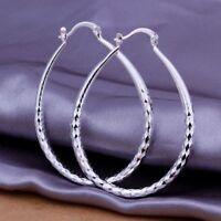 ASAMO Damen Creolen oval Ohrringe 925 Sterling Silber plattiert Ohrschmuck O1293