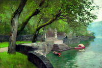 Oil painting Isaak Iliich Levitan At the lake Como. Enbankment nice landscape !!