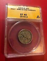 1919 R 20 Centesimi ITALY ANACS EF 40 DETAILS RIMS & EDGE DAMAGED