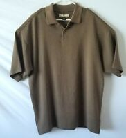 Tommy Bahama Silk Blend Polo Mens L Brown 3 Button Short Sleeve Large