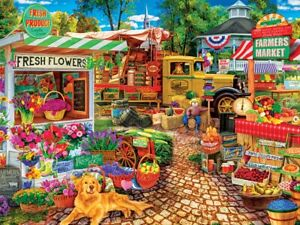 Jigsaw Puzzle Farmer's Market Sale on the Square Flowers Produce 750 pieces NEW