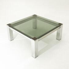 Tavolo quadrato in metallo cromato e vetro anni '70, chromed coffee table