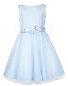 SLY Mädchen Kleid Festlich Kommunion Tüll Blumenmädchen Kinderkleid Neu Hellblau
