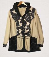 My Way FER Top/Jacket Size 16 Beige Black Broderie Anglais Trim Smart Pretty