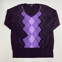Gap Sweater Mens 2XL XXL Plum Deep V Neck Argyle Diamond Pullover Lightweigt