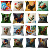 Linen Oil Painting Chicken Rooster Pillow Case Sofa Waist Throw Cushion Cover