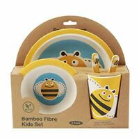 5-Piece Bamboo Dinner Set for Children, Bee Design - Kids Dinner Set