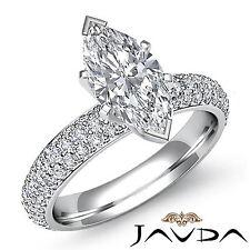 Marquesita Diamante Impresionante Compromiso Pavé Anillo GIA i SI1 14k Oro