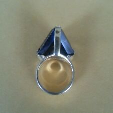 24kt Gold Sterling Silver Smoky Topaz Vermeil Ladies Ring Vintage Retro Unique