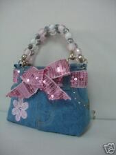 Girl or child's and kid's jean denim purse pink flower