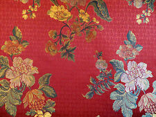 Floral jacquard damask home decorator drapery / upholstery material in red multi