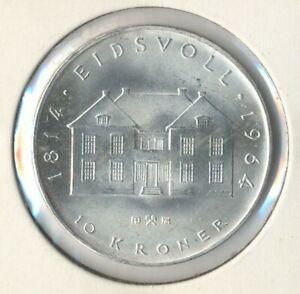 "Norwegen 10 Kr. Silbermünze ""150J.Norwegische Verfassuung""1964, ZP1027 B.64 stgl"
