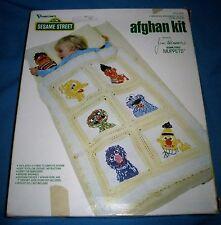 """Vintage Sesame Street Muppets Afghan Kit Vogart Crafts 30""""x48"""" Baby Gift!"""