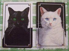 2 x VINTAGE PLAYING/SWAP CARDS - BLACK CAT / KITTEN & WHITE CAT / KITTEN - PAIR