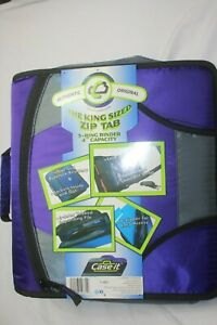 "Case-it King Sz Zip Tab 4"" D-Ring Zipper Binder 5-Tab File Folder Crossbody Stra"