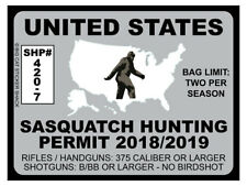United States Sasquatch Hunting Permit  (Bumper Sticker)