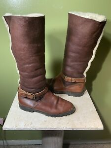 Timberland Earthkeeper Riding Tall Sherpa Boots Brown Leather - See Measurements