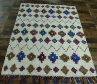 "5'4""x7'7"" Beautiful New Modern Hand knotted wool Moroccan Oriental area rug"