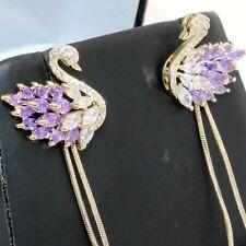 Purple Amethyst Swan Earrings Women Wedding Jewelry 14K Yellow Gold Plated