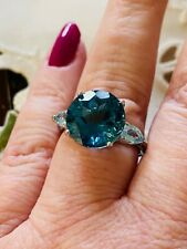Size 9- 7.49ct London Blue Topaz Rhodium Over Sterling Silver 3-Stone Ring