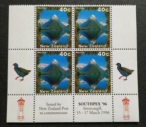 1996 New Zealand SouthPex Mountain Mitre Peak Birds 4v Stamps MNH (bottom B4)