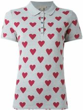 BURBERRY BRIT Heart Print Stretch Cotton Piqué Polo Shirt in Parade Red XSmall