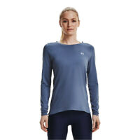 Under Armour Womens HeatGear Long Sleeve Top Blue Sports Running Gym Breathable