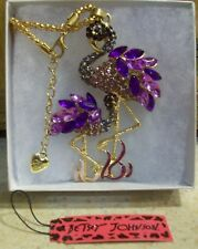 Betsey Johnson Heron Whopping Crane & Baby Pendant Long Chain Necklace New
