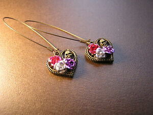 DaY of the DeaD Earrings Sugar Skull Frida Handmade heart Rose flowers LONG NEW