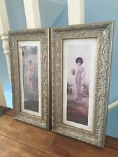Pair Of Frosted Gold Coloured Pictures Ladies With Flower Fruit Baskets