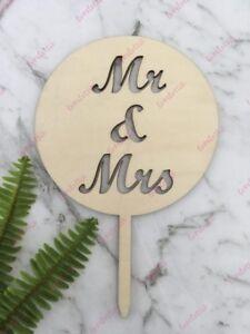 Mr & Mrs Rustic Wood Round Wedding Cake Topper
